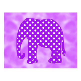 Elefante púrpura y blanco de los lunares postales