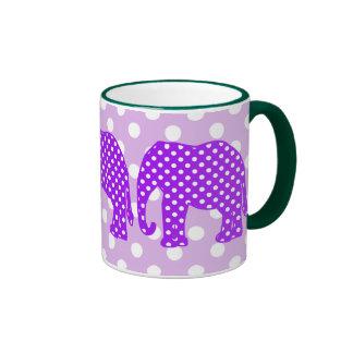 Elefante púrpura y blanco de los lunares taza a dos colores