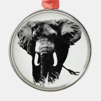 Elefante que camina adorno redondo plateado