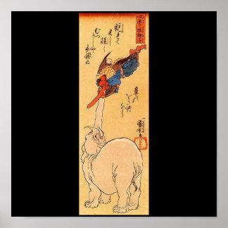 Elefante que coge un Tengu que vuela. Circa 1800's Poster
