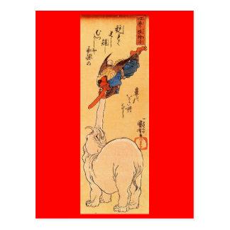 Elefante que coge un Tengu que vuela. Circa 1800's Postal
