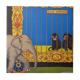 elefante que da un paseo más allá de la jaula azulejo cuadrado pequeño