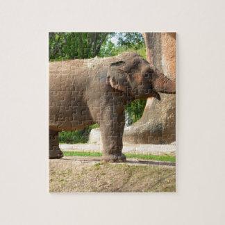 Elefante que toma un baño del polvo puzzle