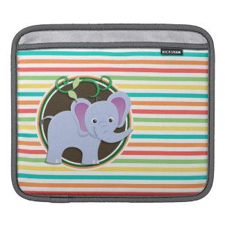Elefante; Rayas brillantes del arco iris Funda Para iPads