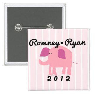 Elefante republicano adorable, Romney/Ryan Pin Cuadrado