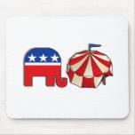 Elefante republicano del circo alfombrilla de ratón