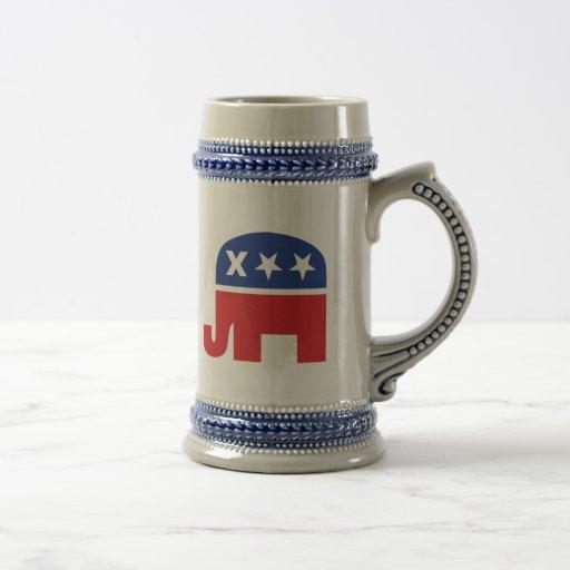 Elefante republicano muerto jarra de cerveza