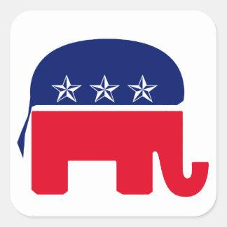 Elefante republicano calcomania cuadradas