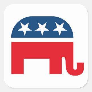 Elefante republicano calcomanías cuadradass