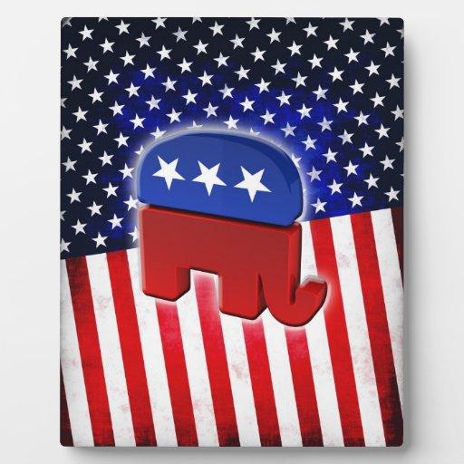 Elefante republicano placa de plastico