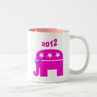 Elefante republicano rosado - Sarah Palin 2012 Taza De Dos Tonos