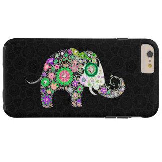 Elefante retro colorido 2a de las flores funda de iPhone 6 plus tough