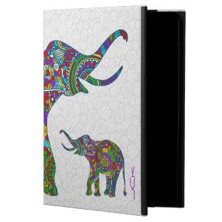 Elefante retro colorido 3c de la flor