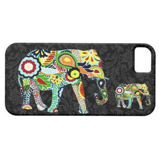 Elefante retro colorido de Abstrac de las flores