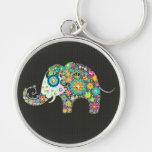 Elefante retro colorido de la flor con los pernos  llaveros