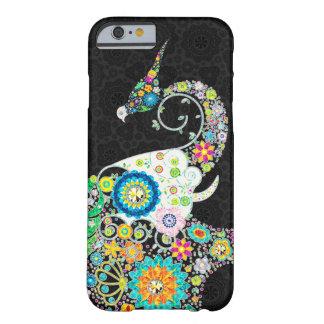 Elefante retro colorido de la flor y un pájaro funda de iPhone 6 barely there