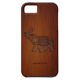 Elefante retro con el palo de rosa de encargo del iPhone 5 Case-Mate cobertura