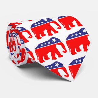 Elefante rojo, blanco, y azul corbata personalizada