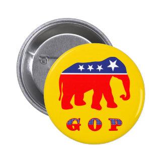 Elefante rojo, blanco, y azul de G O P - Pin Redondo De 2 Pulgadas