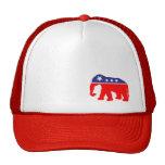 Elefante rojo, blanco y azul gorros bordados