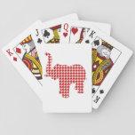 Elefante rojo de Houndstooth Baraja De Póquer