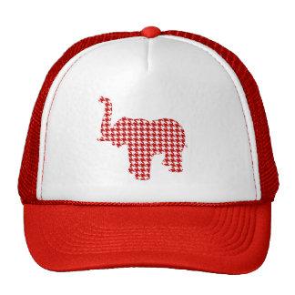 Elefante rojo de Houndstooth Gorras