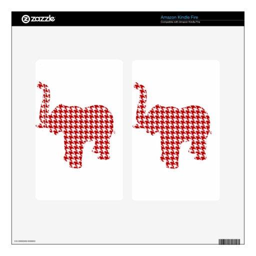 Elefante rojo de Houndstooth Pegatinas Skins Para Kindle Fire