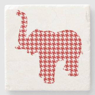 Elefante rojo de Houndstooth Posavasos De Piedra