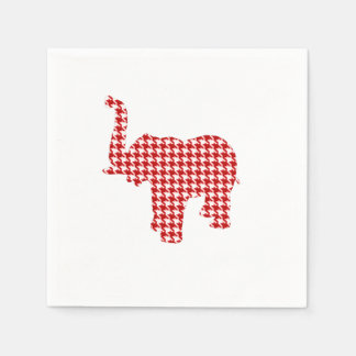 Elefante rojo de Houndstooth Servilletas Desechables