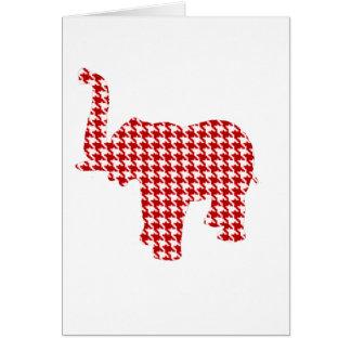 Elefante rojo de Houndstooth Tarjeta De Felicitación