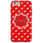 Elefante rojo en polkadot funda de iPhone 6 plus tough