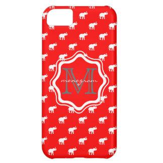 Elefante rojo en polkadot funda para iPhone 5C