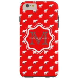 Elefante rojo en polkadot funda para iPhone 6 plus tough