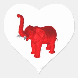 Elefante rojo pegatina en forma de corazón