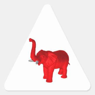 Elefante rojo pegatina triangular