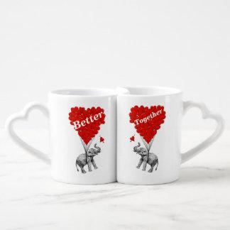 Elefante romántico divertido set de tazas de café