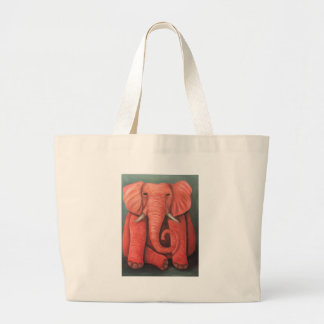 Elefante rosado bolsa tela grande