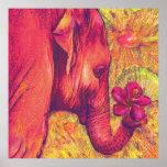 elefante rosado con el hibisco poster