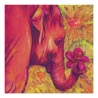 elefante rosado con el hibisco póster