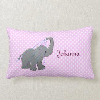 elefante rosado de la fiesta de bienvenida al bebé cojin