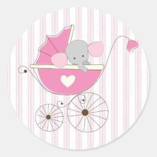 Elefante rosado de la niña hermosa pegatina redonda