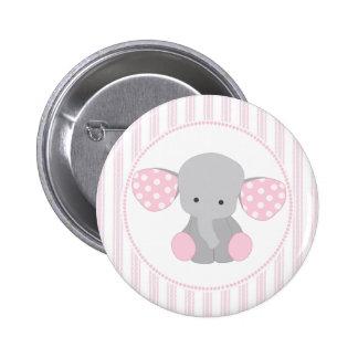 Elefante rosado de la niña hermosa pin redondo de 2 pulgadas