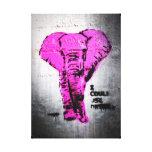 Elefante rosado de la pintada impresión en lona