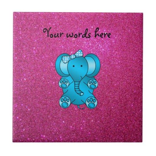 Elefante rosado del azul del brillo azulejo cuadrado pequeño