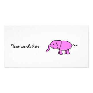 Elefante rosado del bebé tarjeta personal con foto