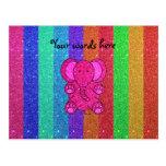 Elefante rosado del brillo con las rayas del arco  tarjetas postales
