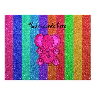 Elefante rosado del brillo con las rayas del arco tarjeta postal