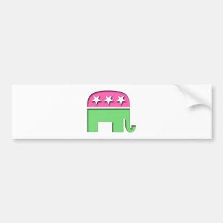 Elefante rosado del GOP Etiqueta De Parachoque
