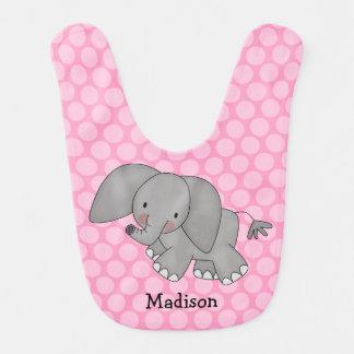 Elefante rosado del lunar personalizado baberos para bebé