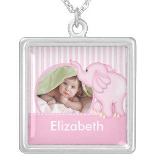Elefante rosado del nuevo del bebé de la foto chic colgante personalizado